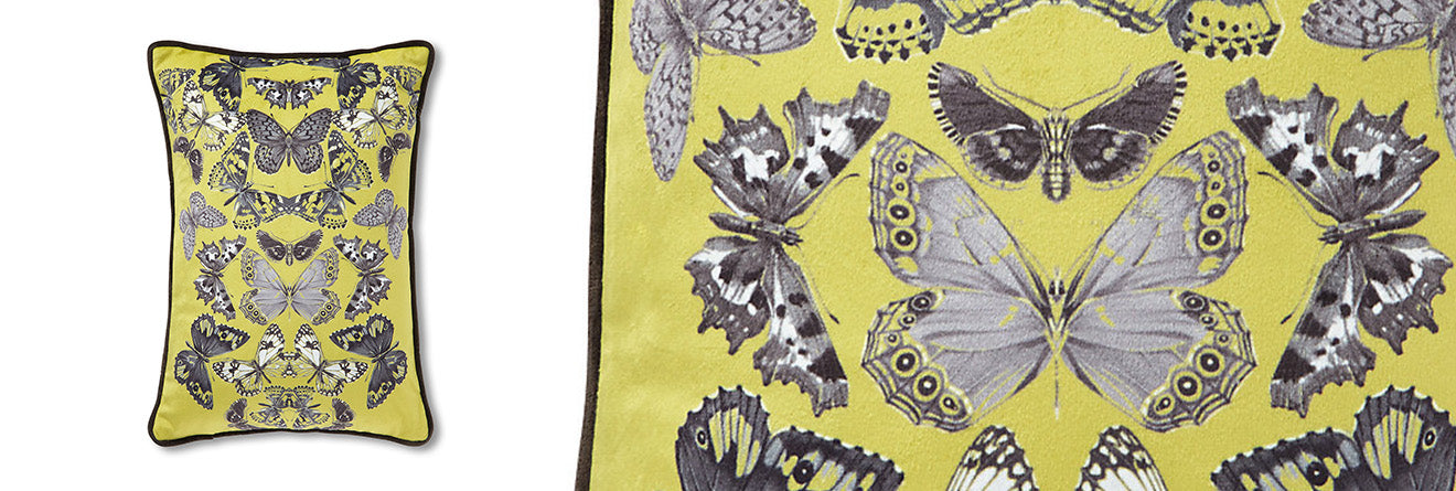 yellow mirrored butterfly print cushion ochre from Marks and Spencer Home AW15