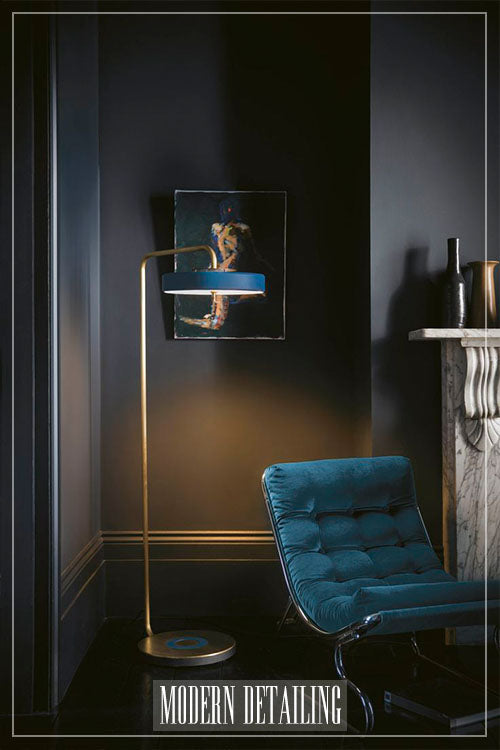 Modern floor lamp blue shade with brass base