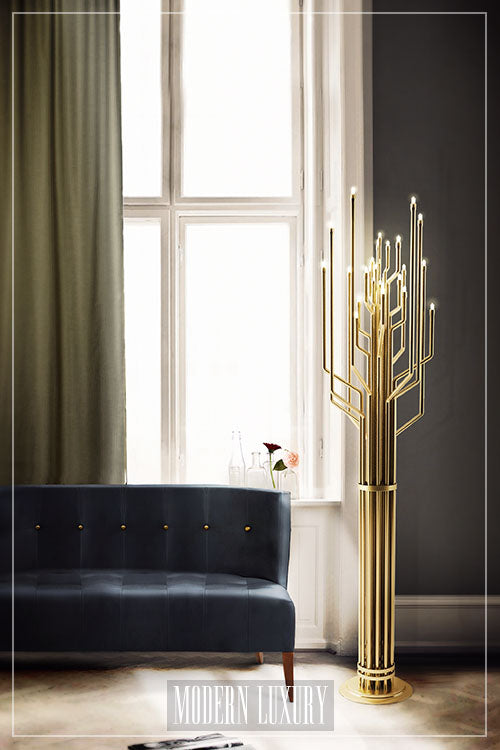 Modern brass floor lamp from Delightfull