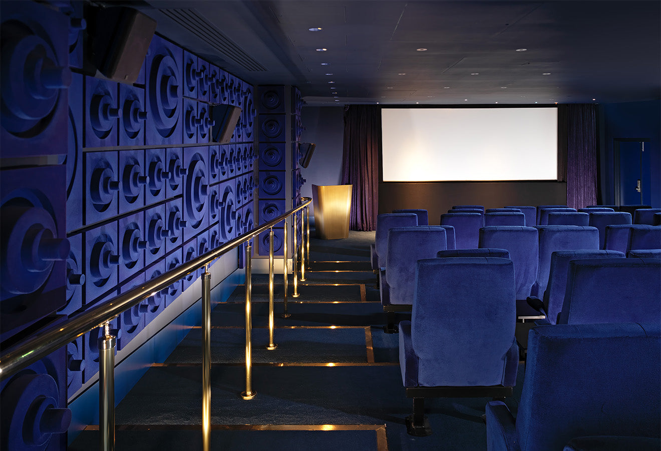 Blue and Brass cinema and screening room at the Mondrian London Sea Containers House