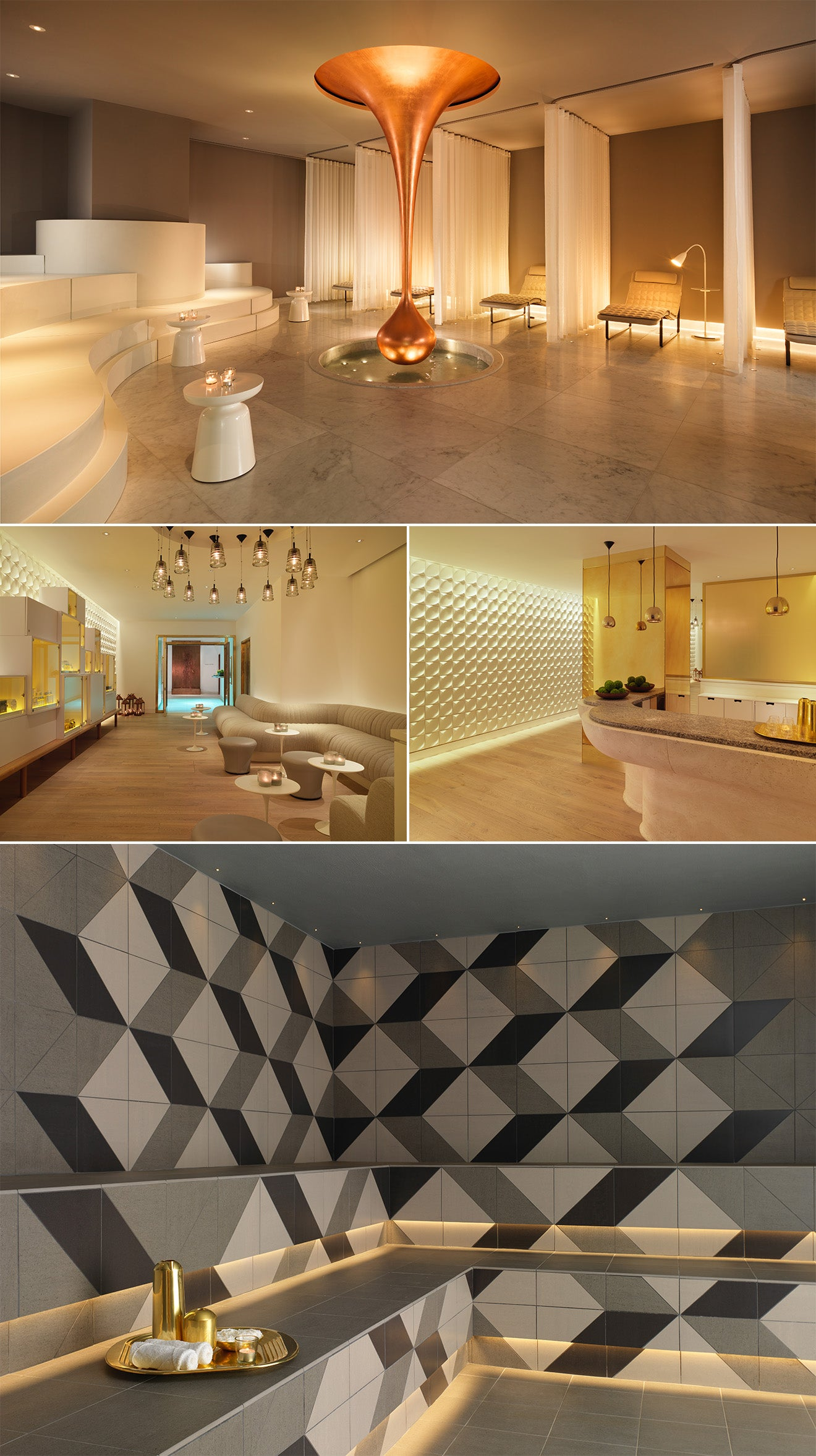 Mondrian London, Sea Containers House, Spa and Treatment areas. Copper Teardrop feature
