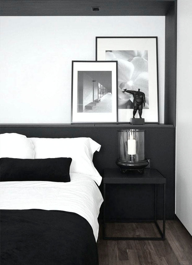 Black and white bedroom monochrome