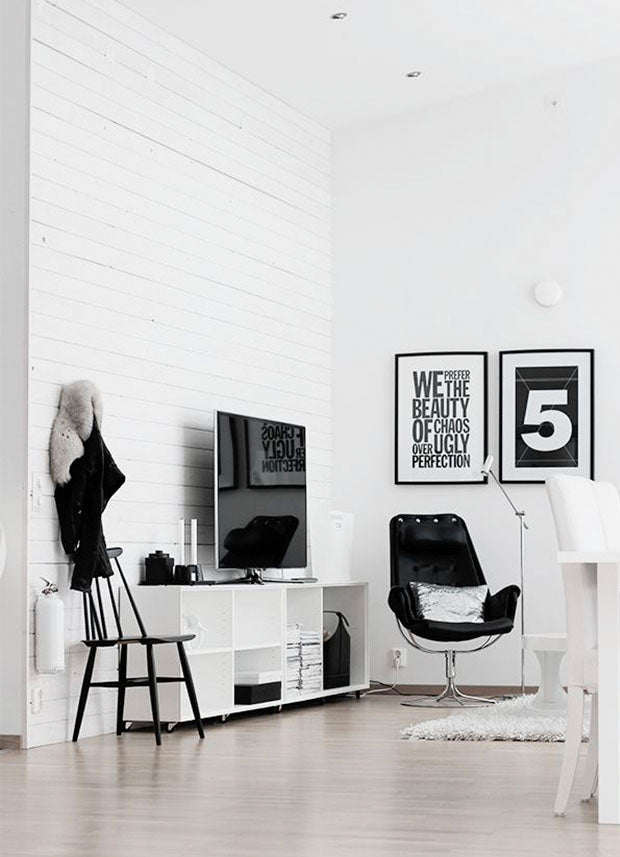 Monochrome Living space, monochrome typography prints