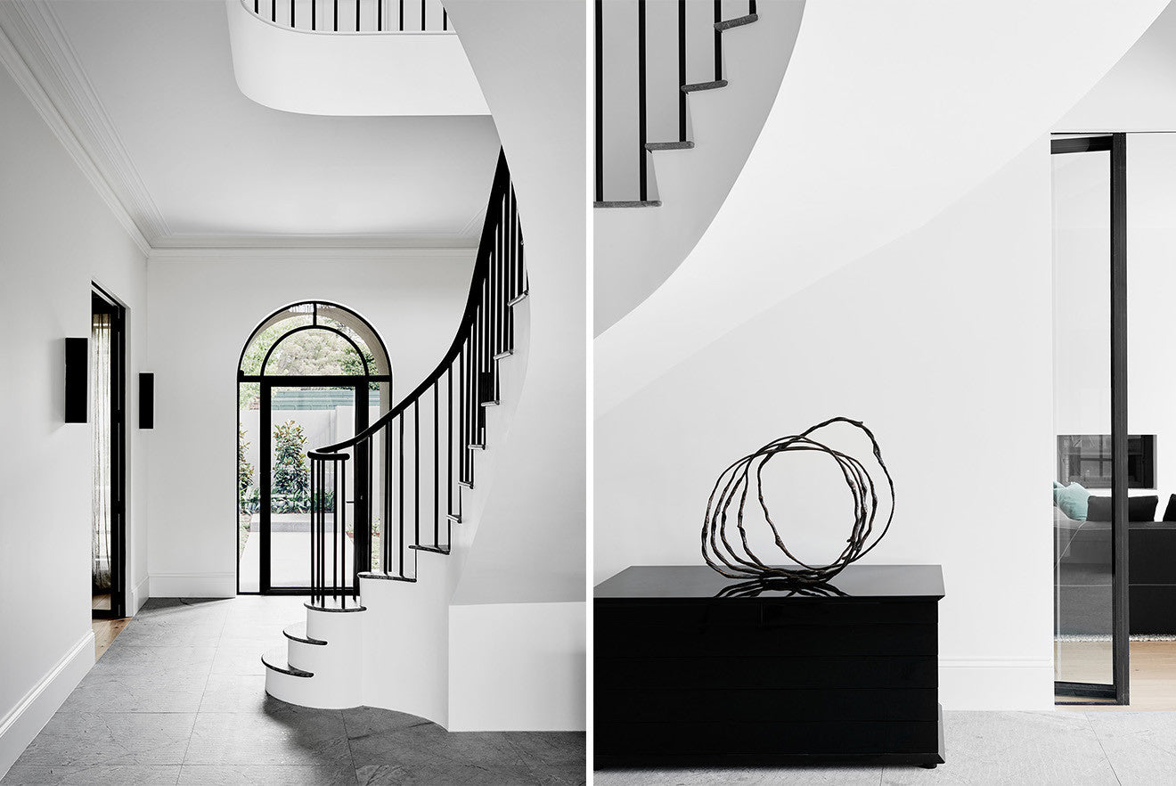 white and black monochrome luxury interior design hallway