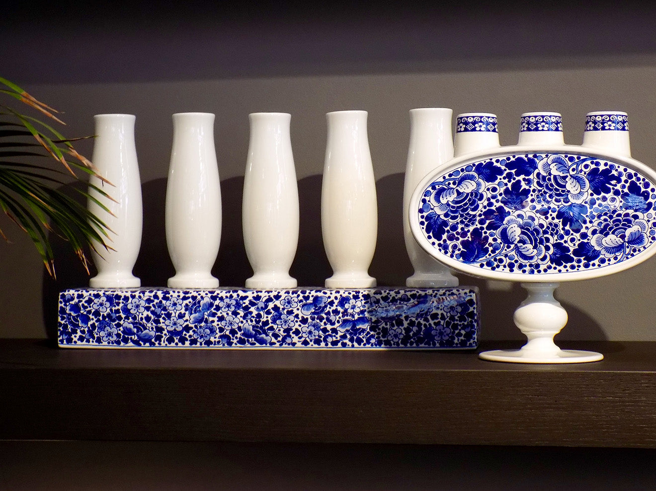 Moooi Delft blue and white floral ceramics