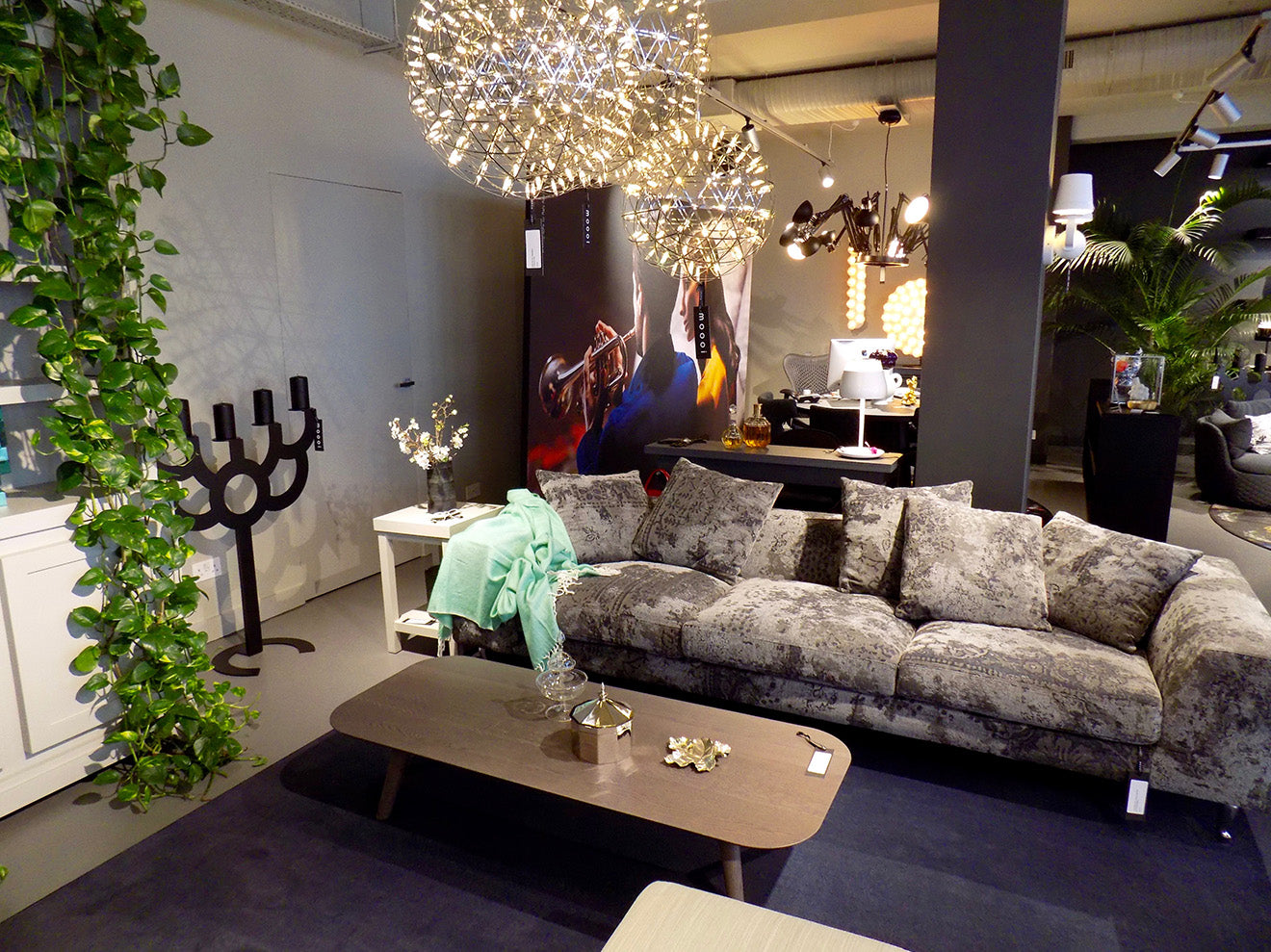 Moooi London showroom displaying furniture, accessories and lighting designs