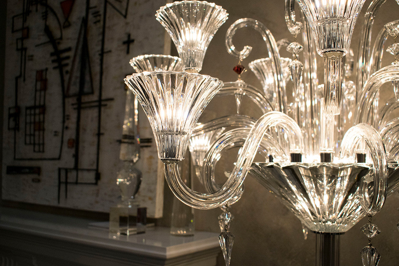 Luxury crystal chandelier on display by Provasi at Salone del Mobile
