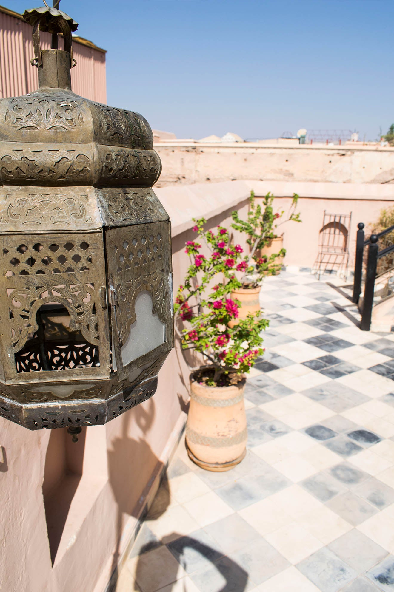 Moroccan brass lantern on the rooftop of boutique hotel Dar Jaguar
