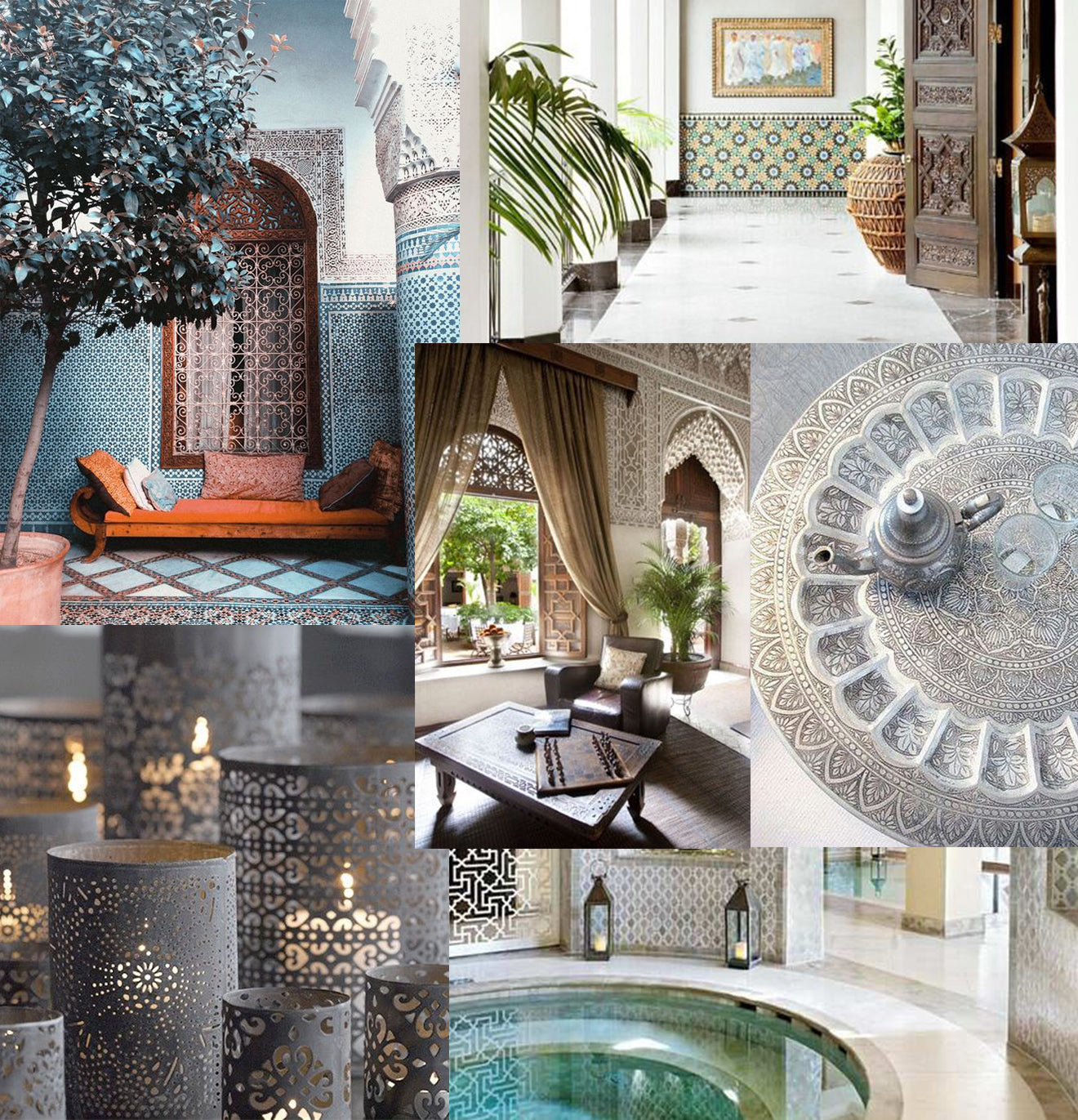 Moroccan interior design inspiration mood board
