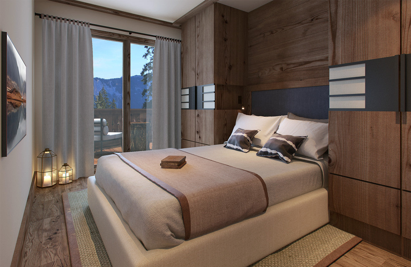 Luxury cabin residence bedroom at Six Senses, designed by Morpheus London