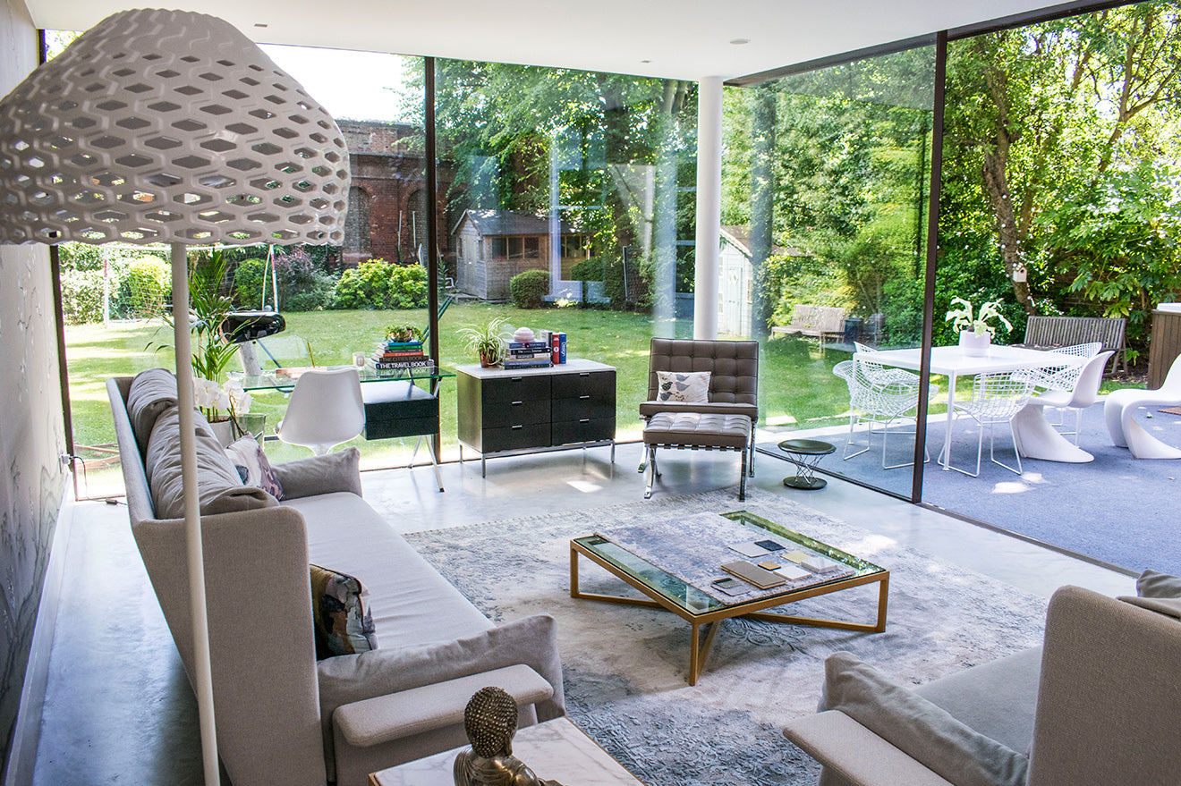 NW3 Interior Design Carly Madhvani showroom glass living room and garden