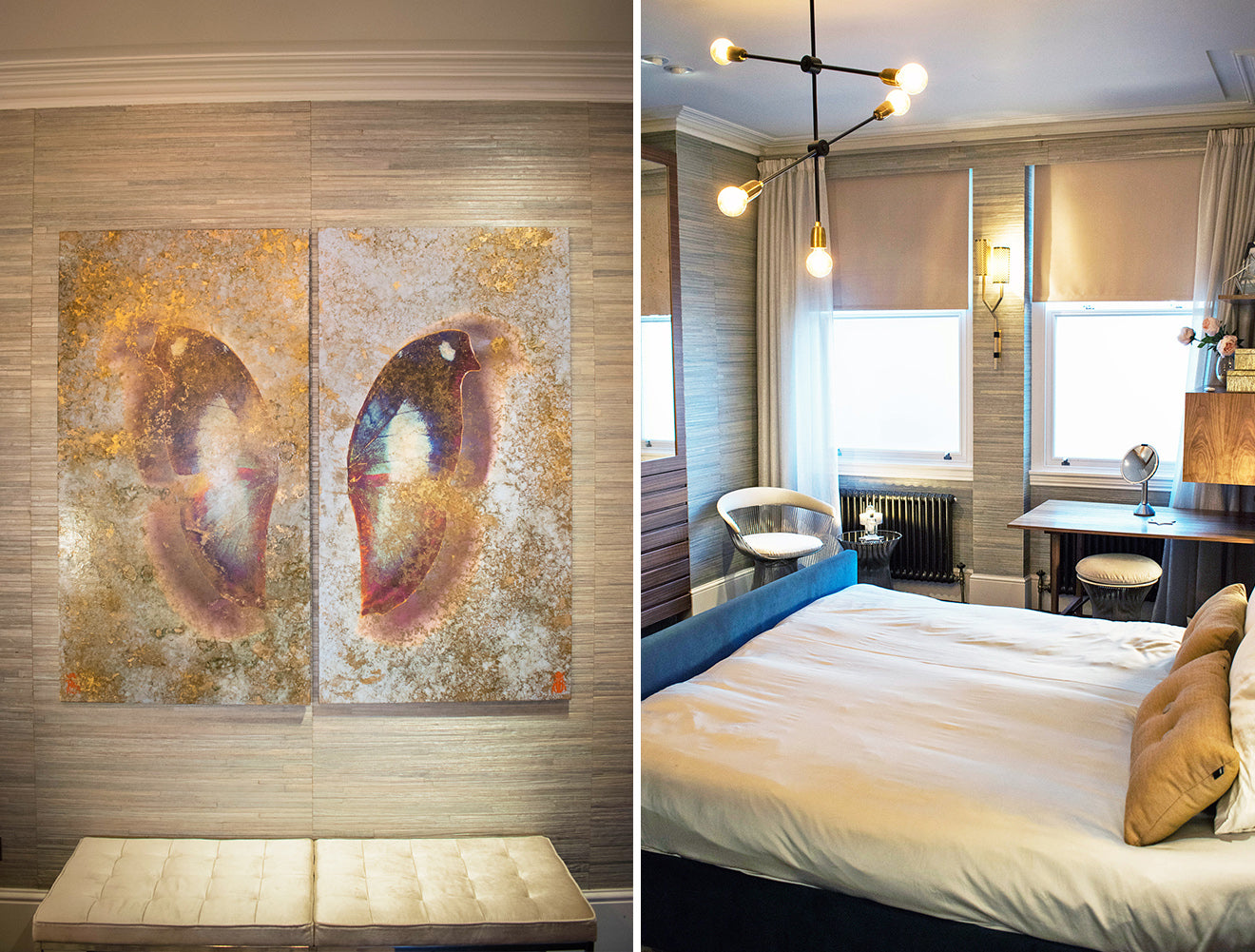 NW3 Interior Design Master Bedroom and Butterfly Artwork