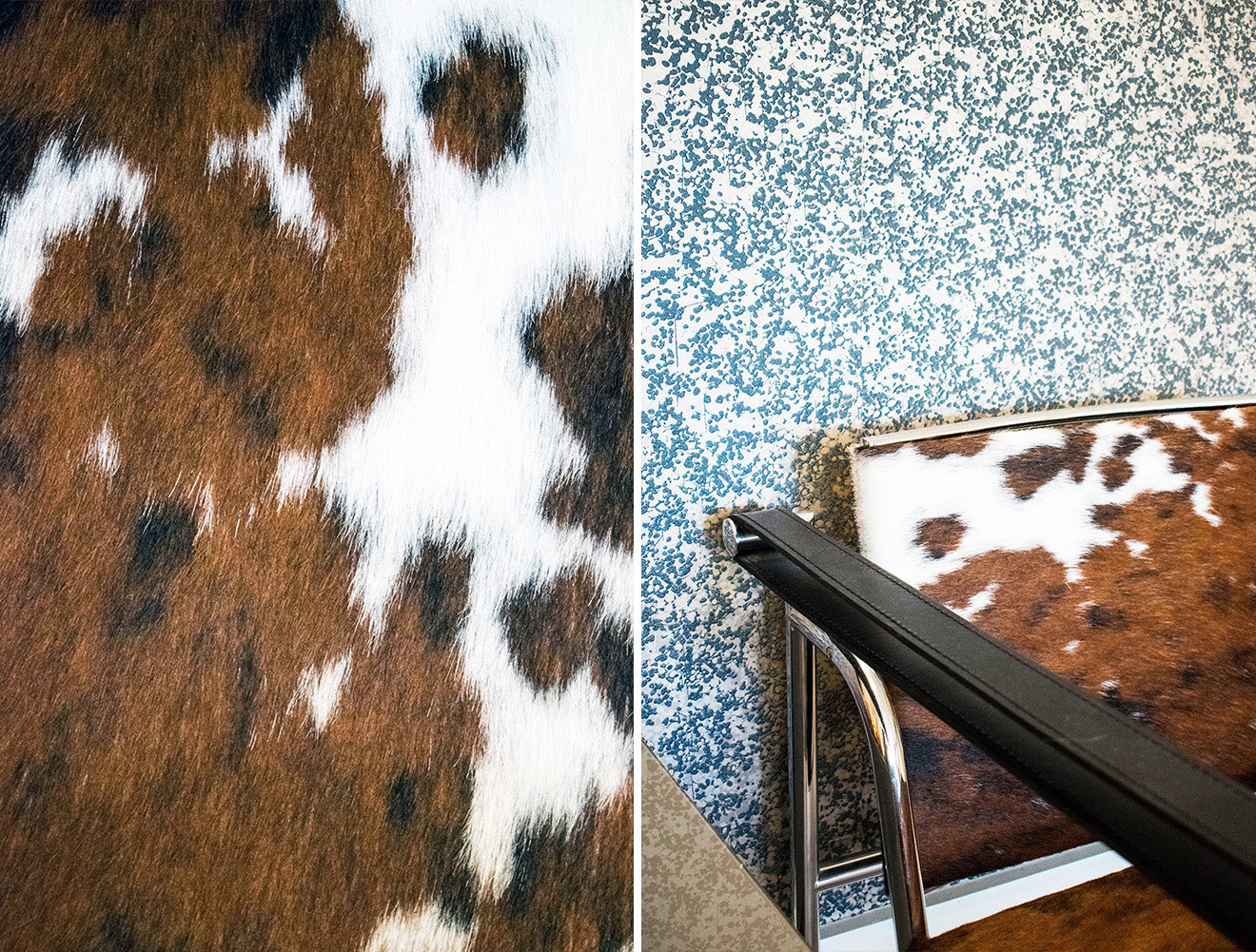 NW3 Interiors Living room with cow upholstered chair