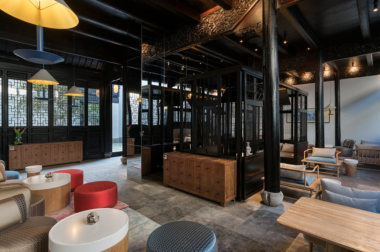 Bar and communal lounge area Nanxun Hotel designed by Dariel Studio