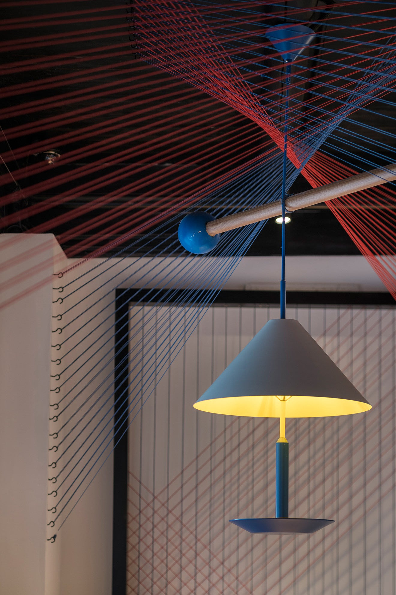 Modern bird feeder style pendant light with string artwork - Nanxun Hotel designed by Dariel Studio