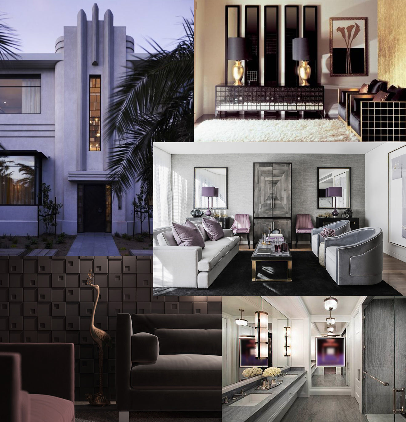 Modern Art Deco decoration style and inspiration mood board interior design