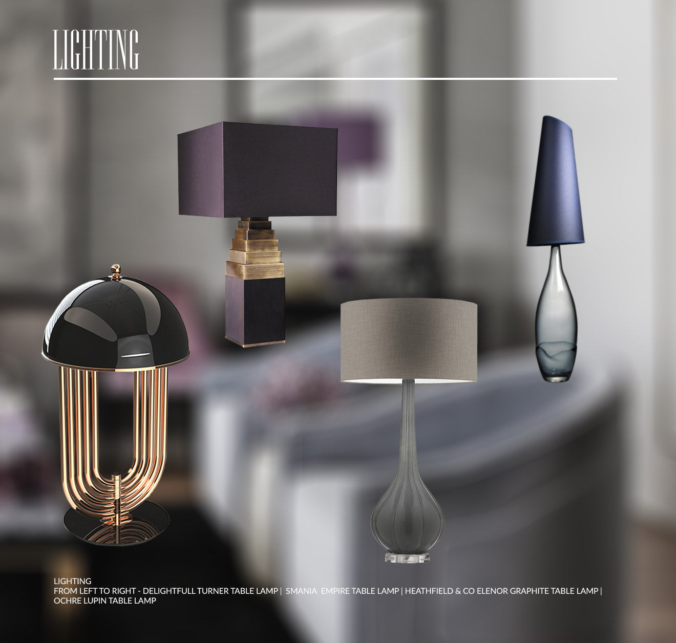 Modern Art Deco Table Lamp and Lighting Inspiration. Luxury Modern Art Deco Lighting Style