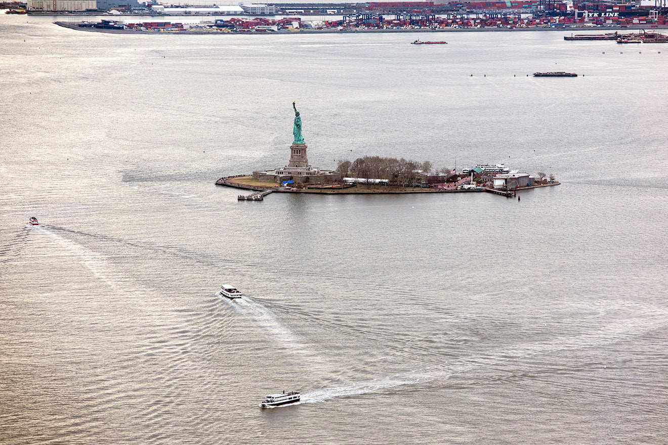 Statue of Liberty and Liberty Island from the top of the World Trade Center