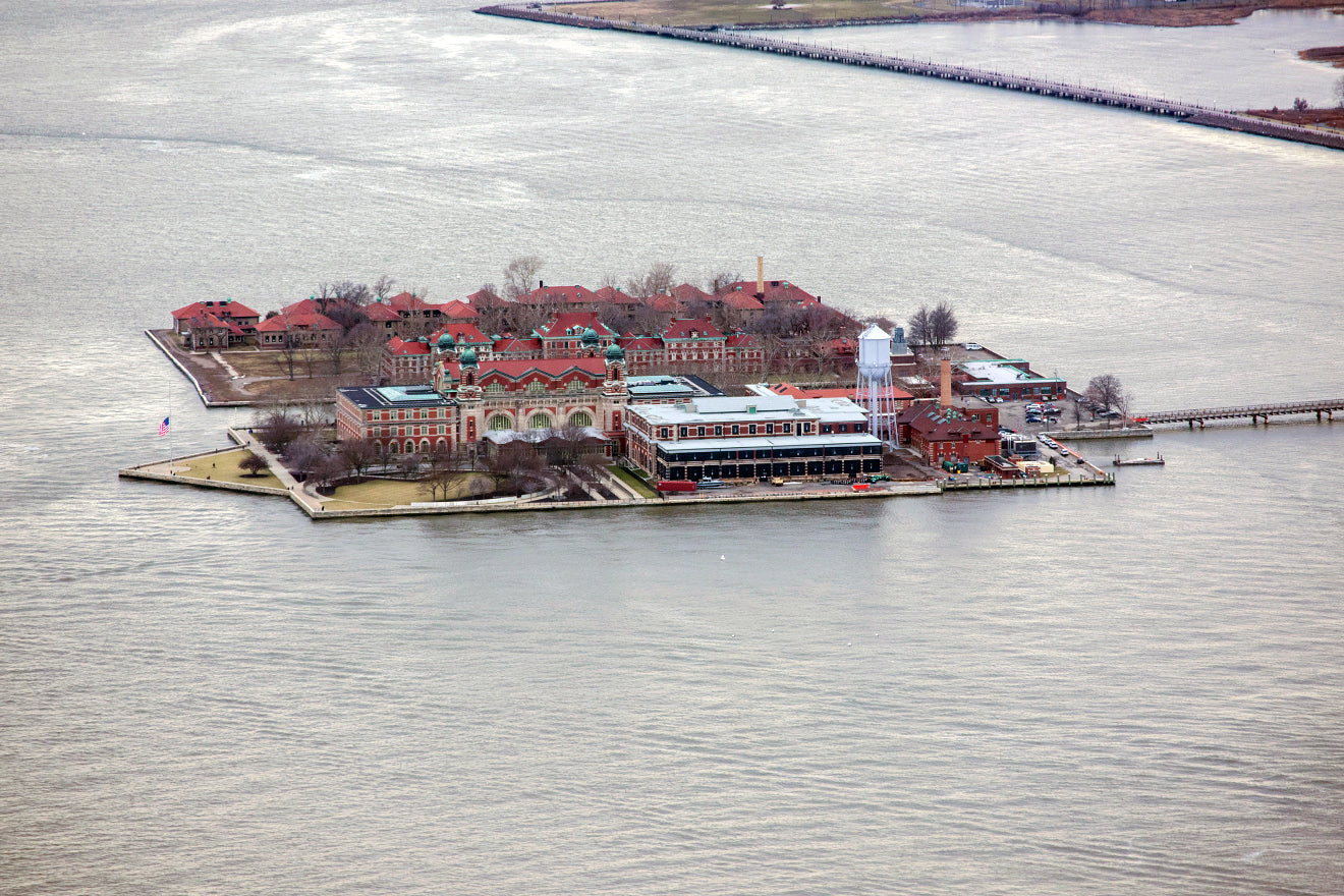Ellis Island from the top of the World Trade Center