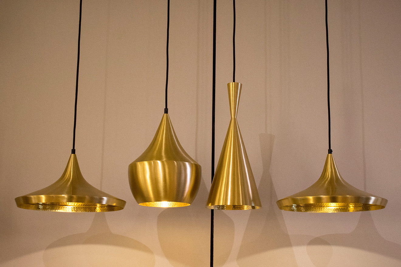 Tom Dixon Showroom New York Brass Pendant Lights