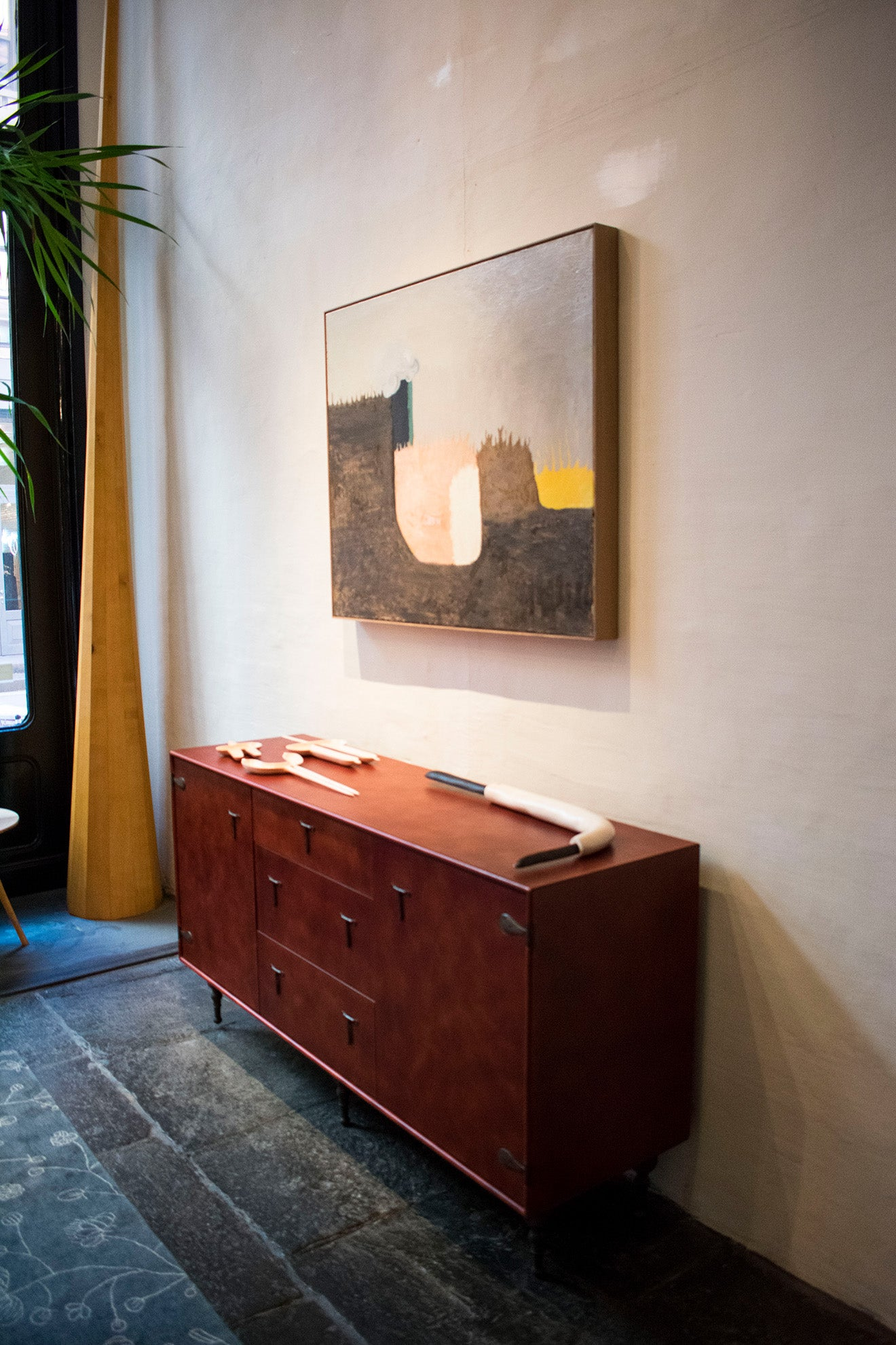 The BDDW Showroom New York Furniture Designs sideboard and artwork