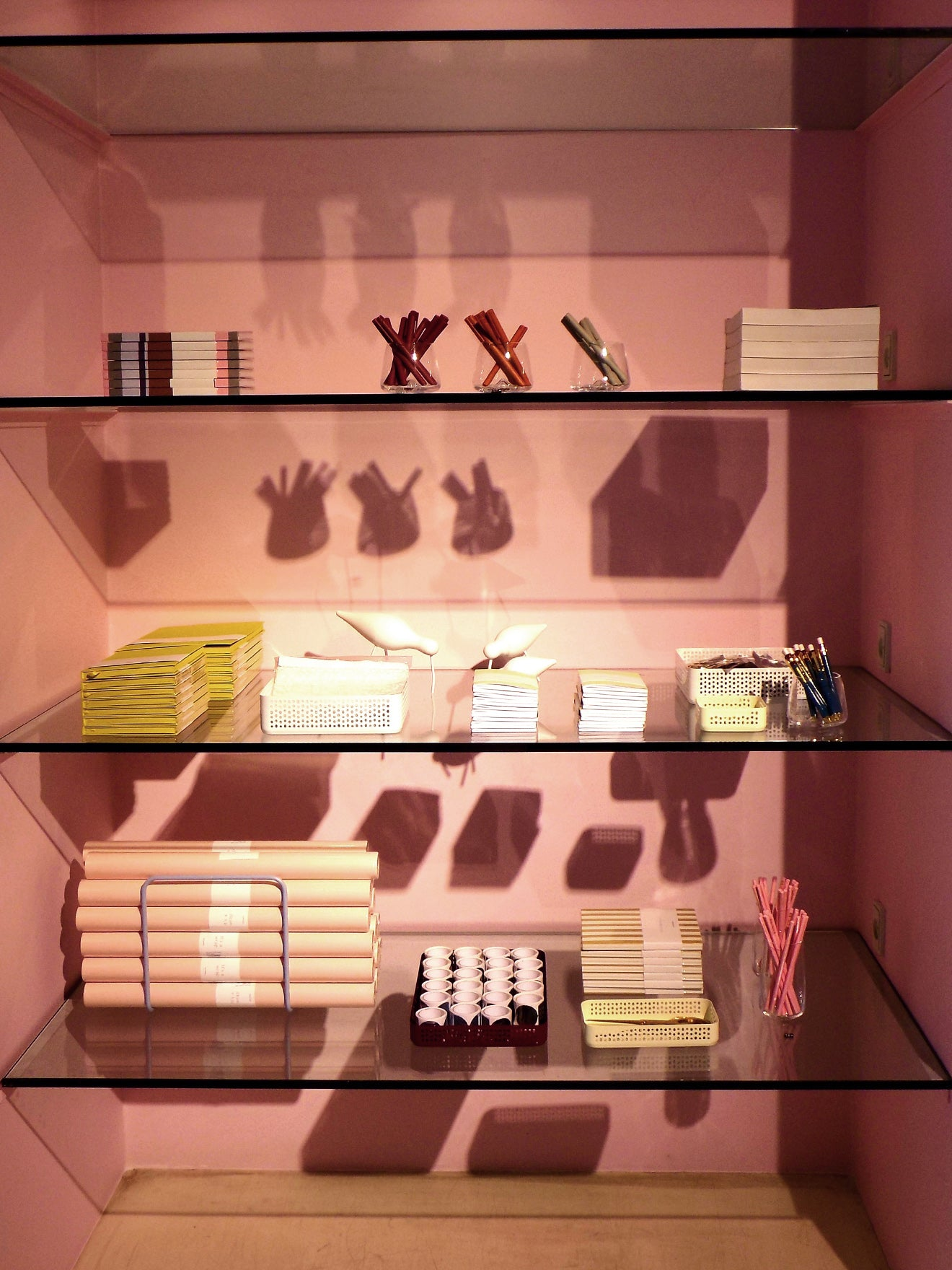 Pink stationary department at Norman Copenhagen flagship store