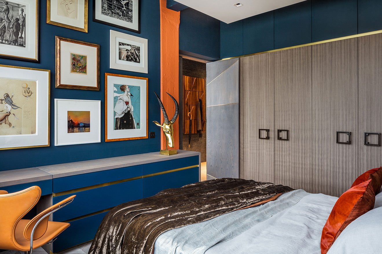 Daniel Hopwood Orange and blue bedroom interior design