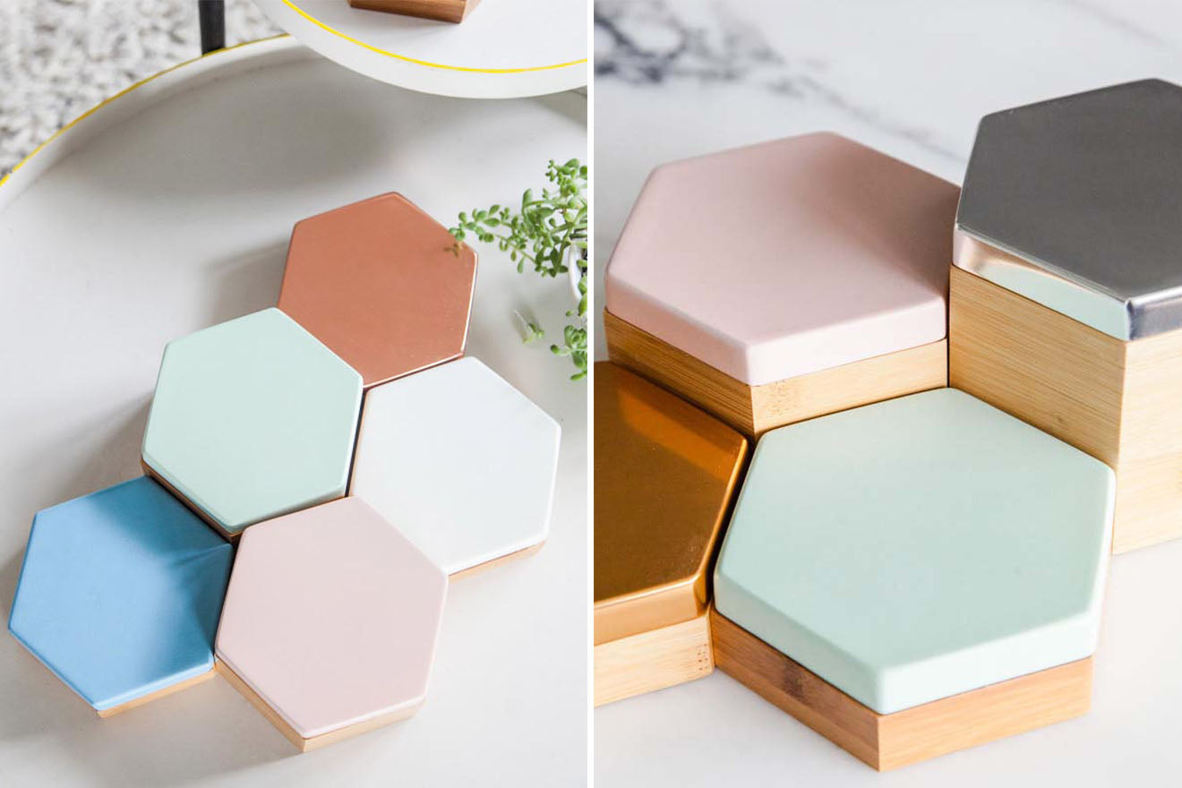 Hexagon storage boxes in pastel colours