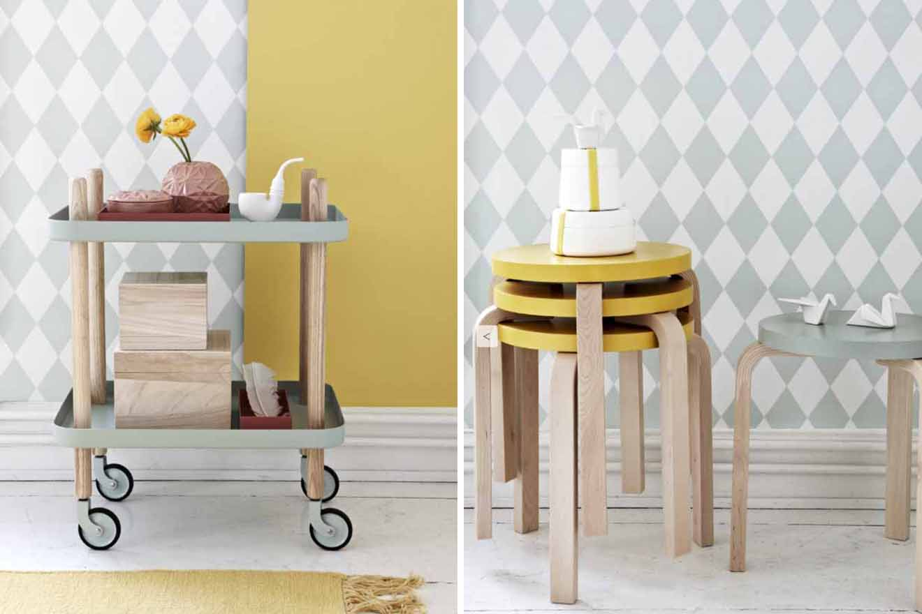 Pastel home accessories and furniture