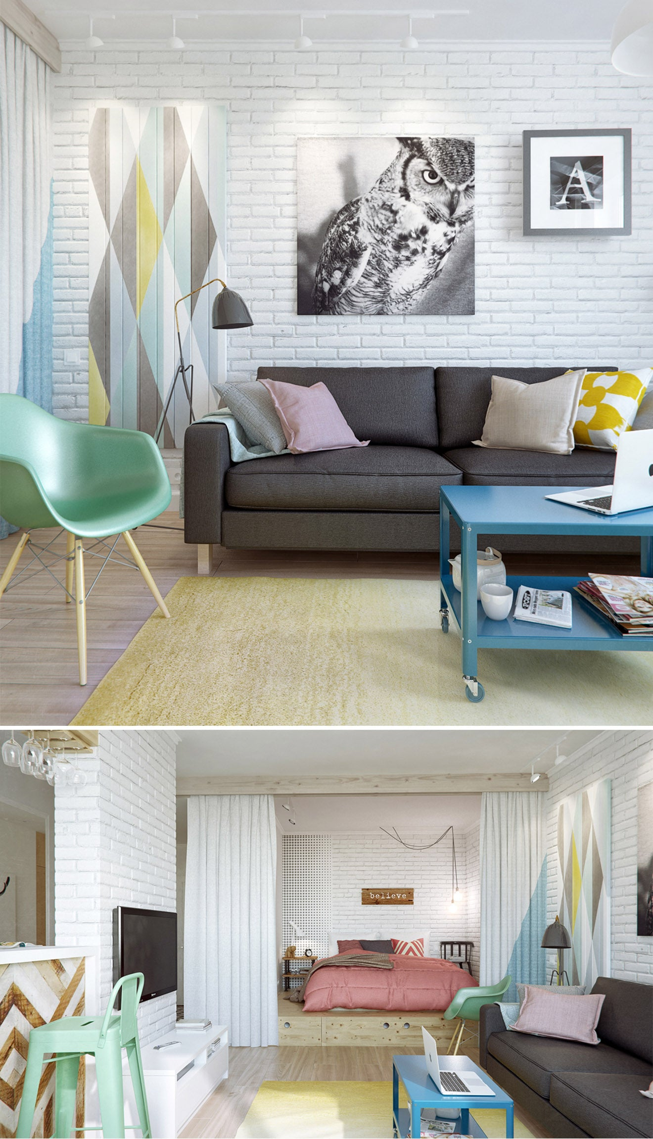 Pastel contemporary living room design, interior design from INT2 Architecture