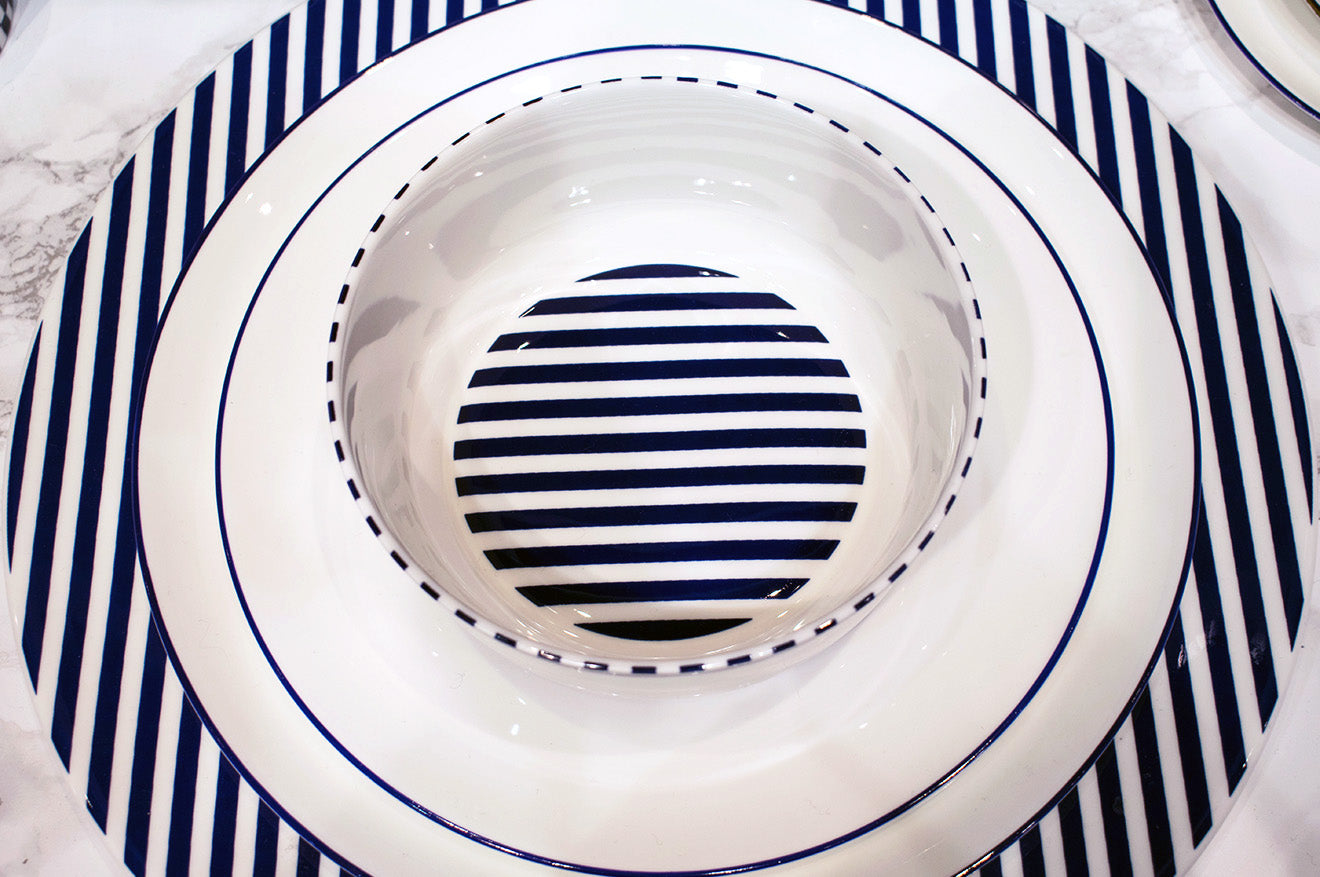 Patternity blue and white striped crockery set Richard Brendon