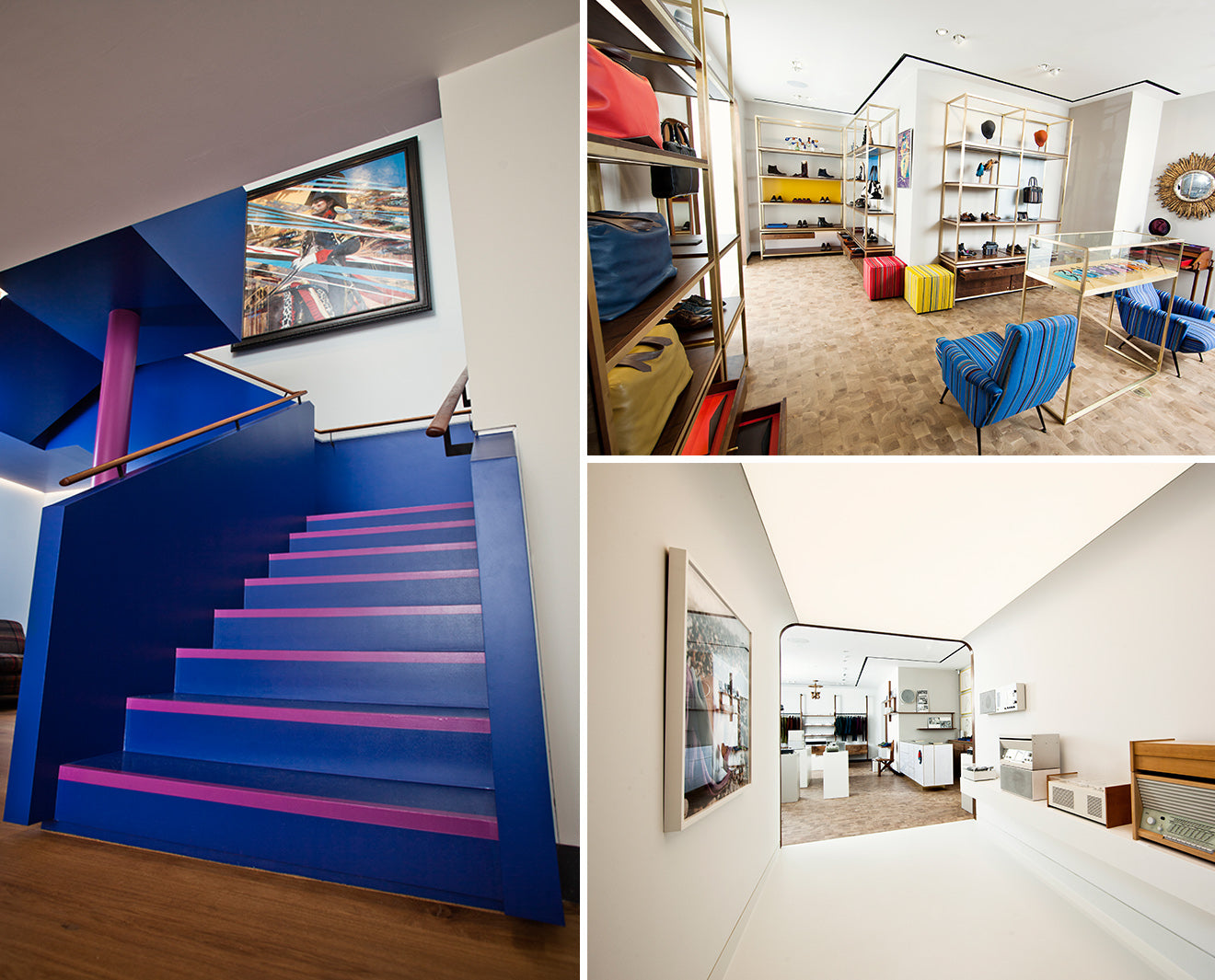 Bright Blue stairs at Paul Smith store in London
