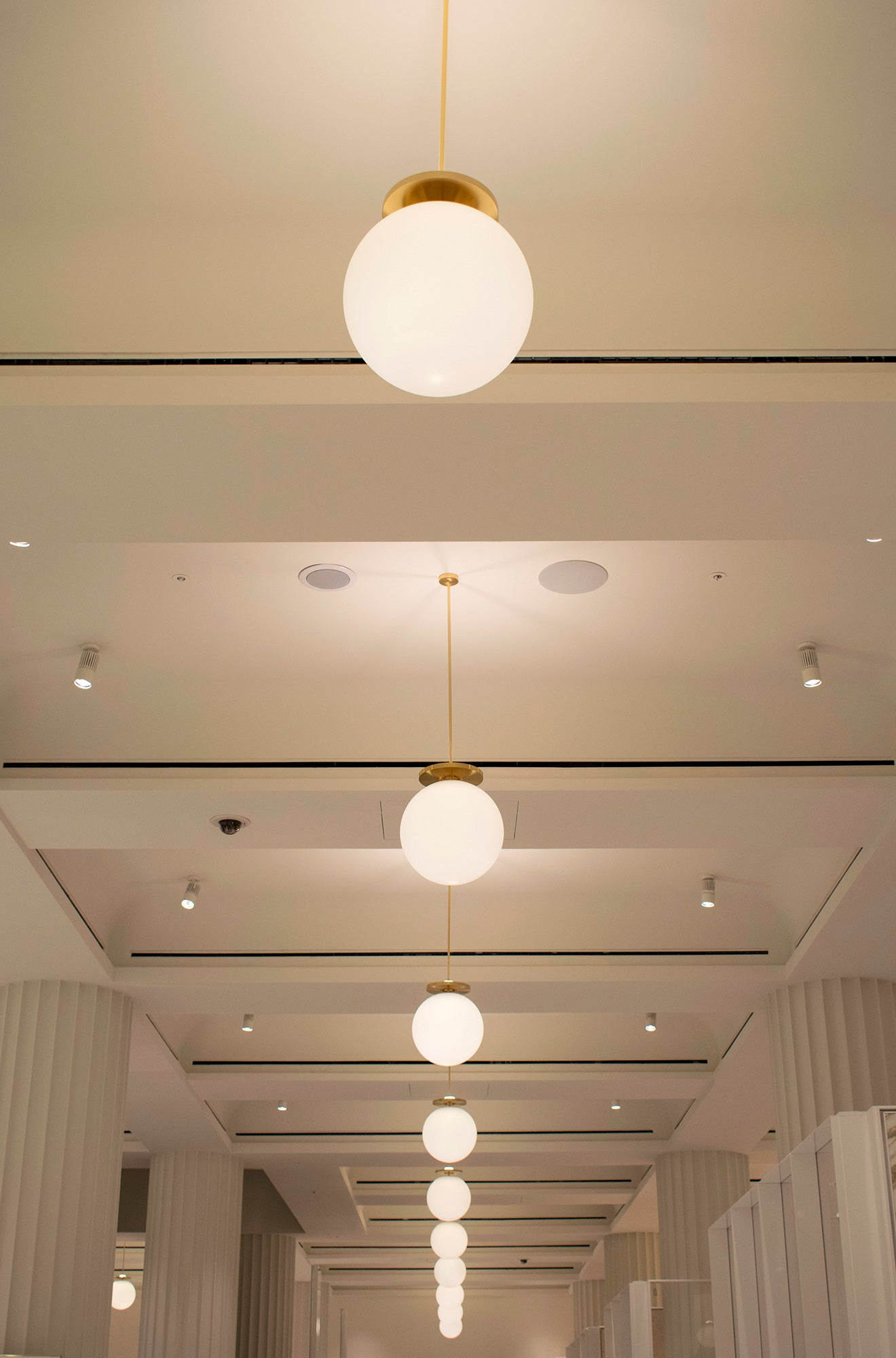 Pearl Pendant lighting at Selfridges
