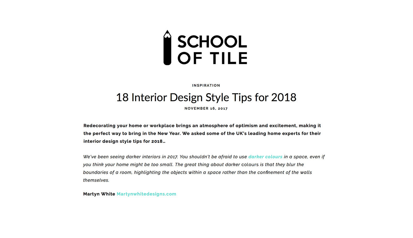 School of tile 18 interior design style tips for 2018