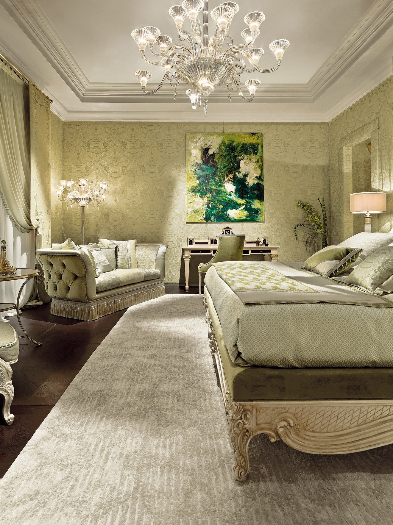 Provasi luxury Italian bedroom furniture in light green upholstery