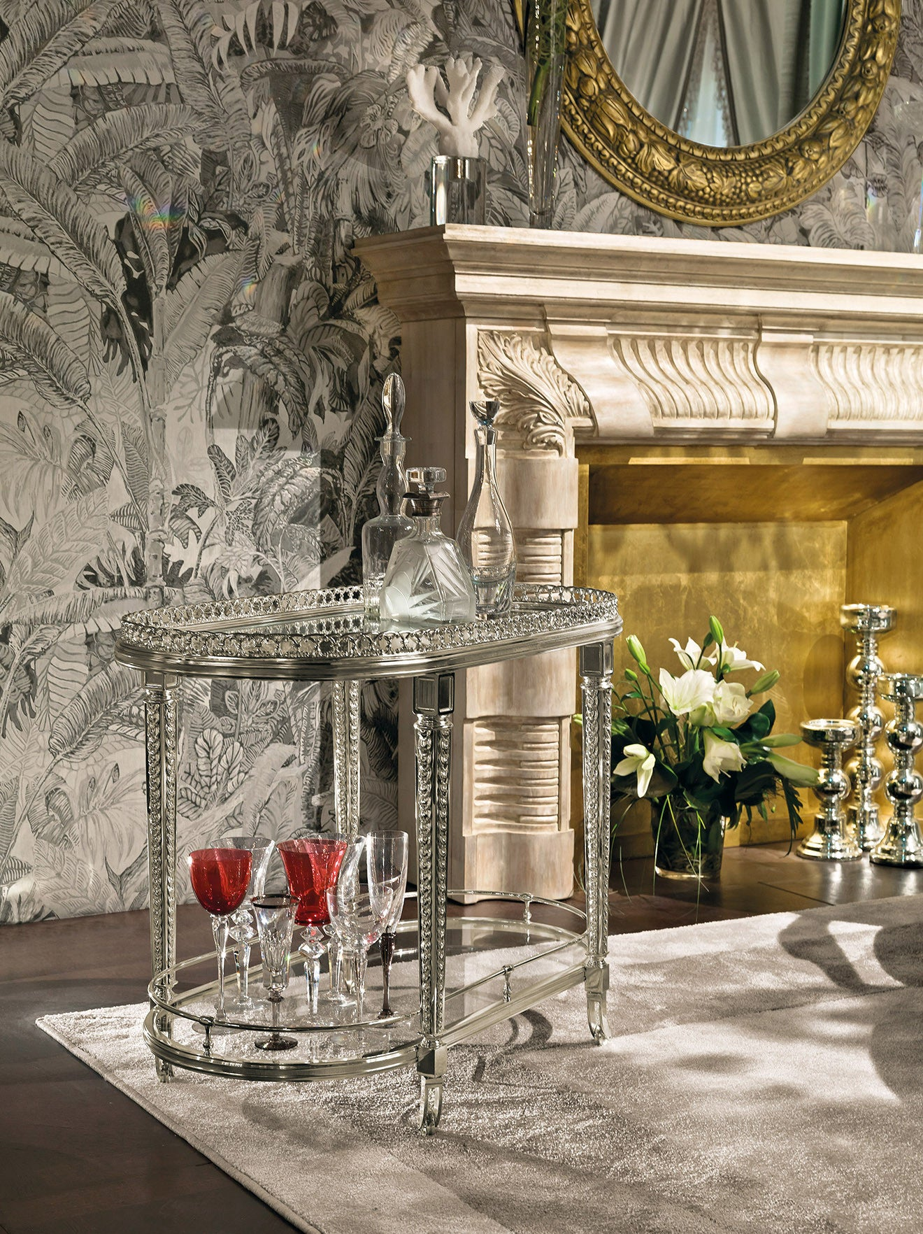 Provasi luxury silver drinks trolley in silver