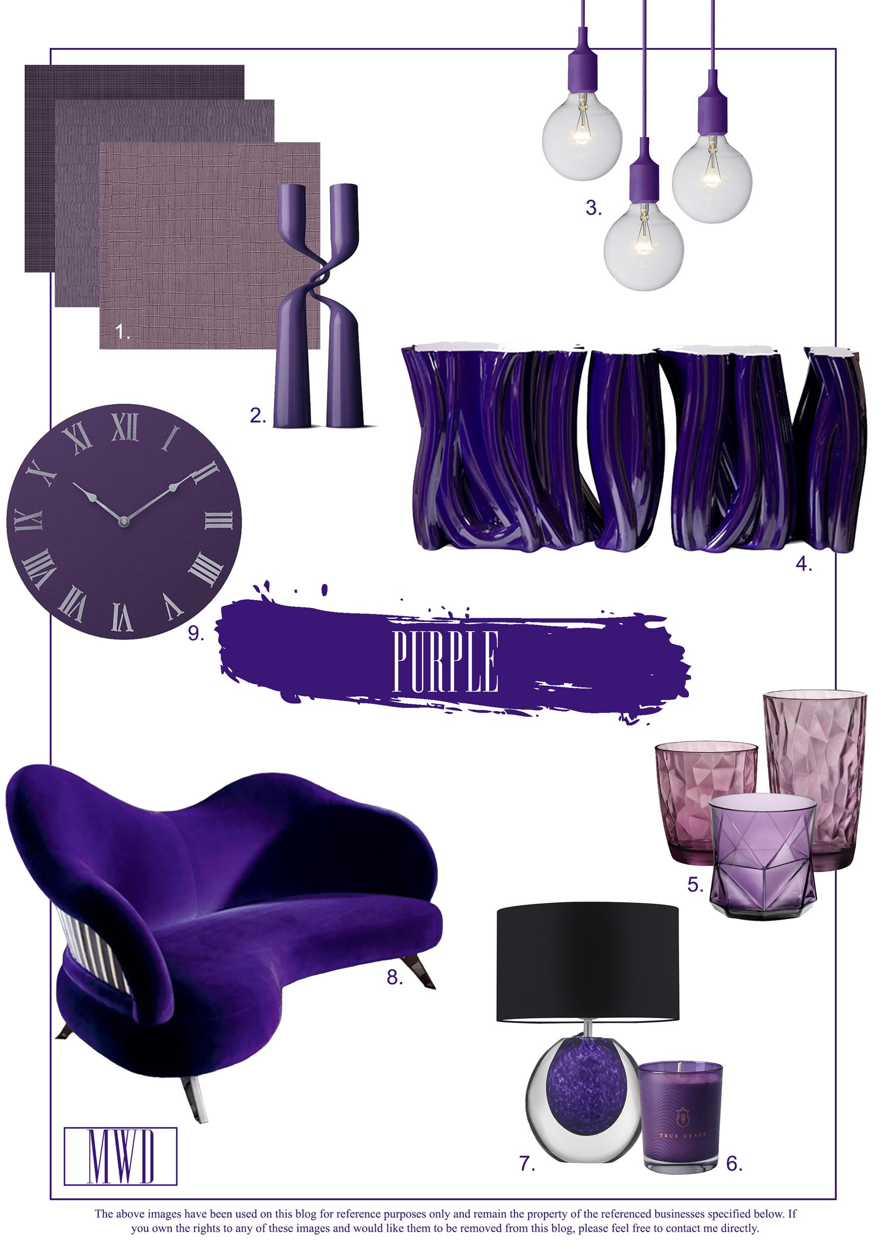 Purple Interior Design, Furniture and decorating ideas for the home