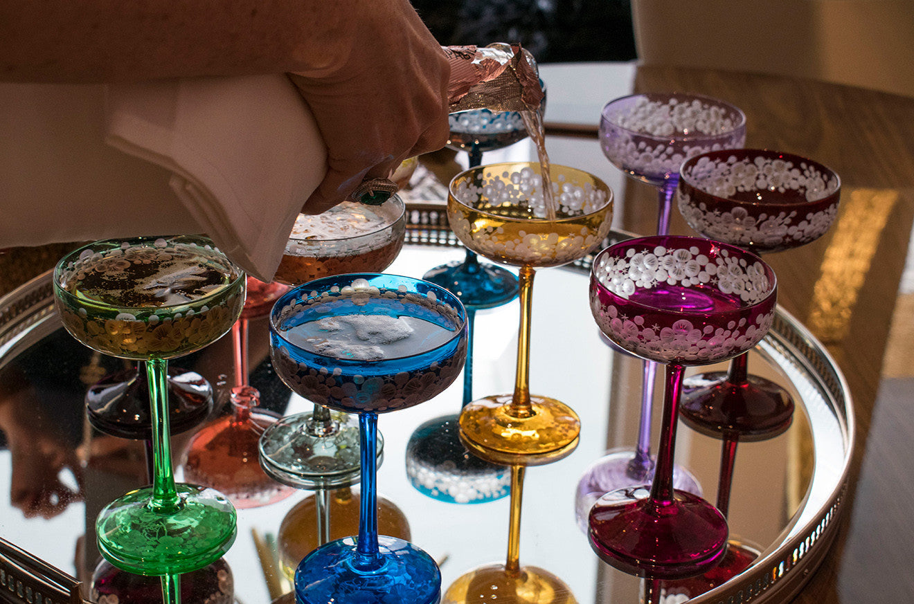 Colourful crystal Champagne coupes