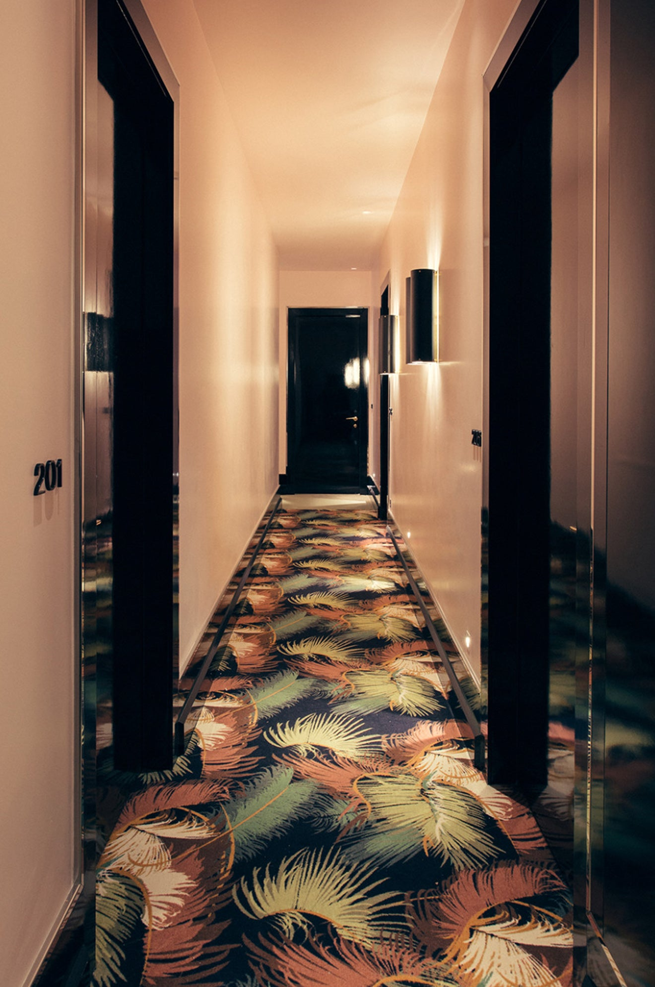 Luxury Retro boutique hotel with striking carpet design