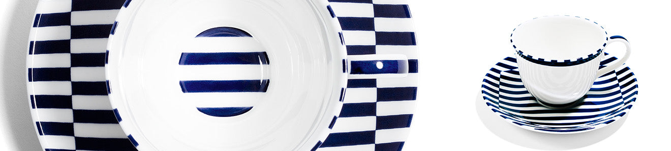 Richard Brendon meets patternity blue and white striped teacup and saucer