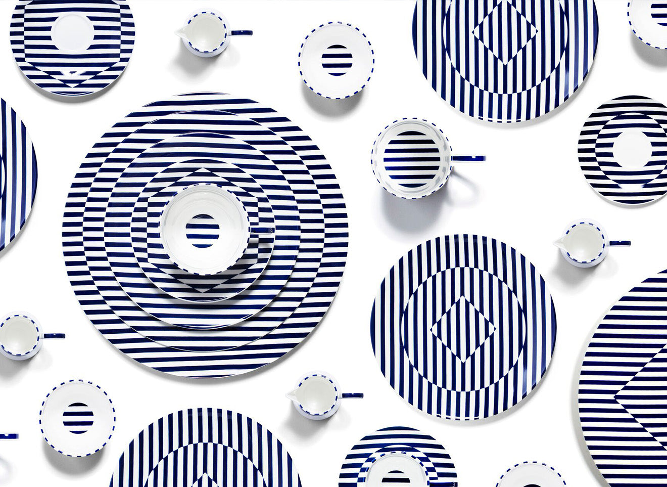 Richard Brendon meets Patternity, blue and white striped crockery and teaware sets