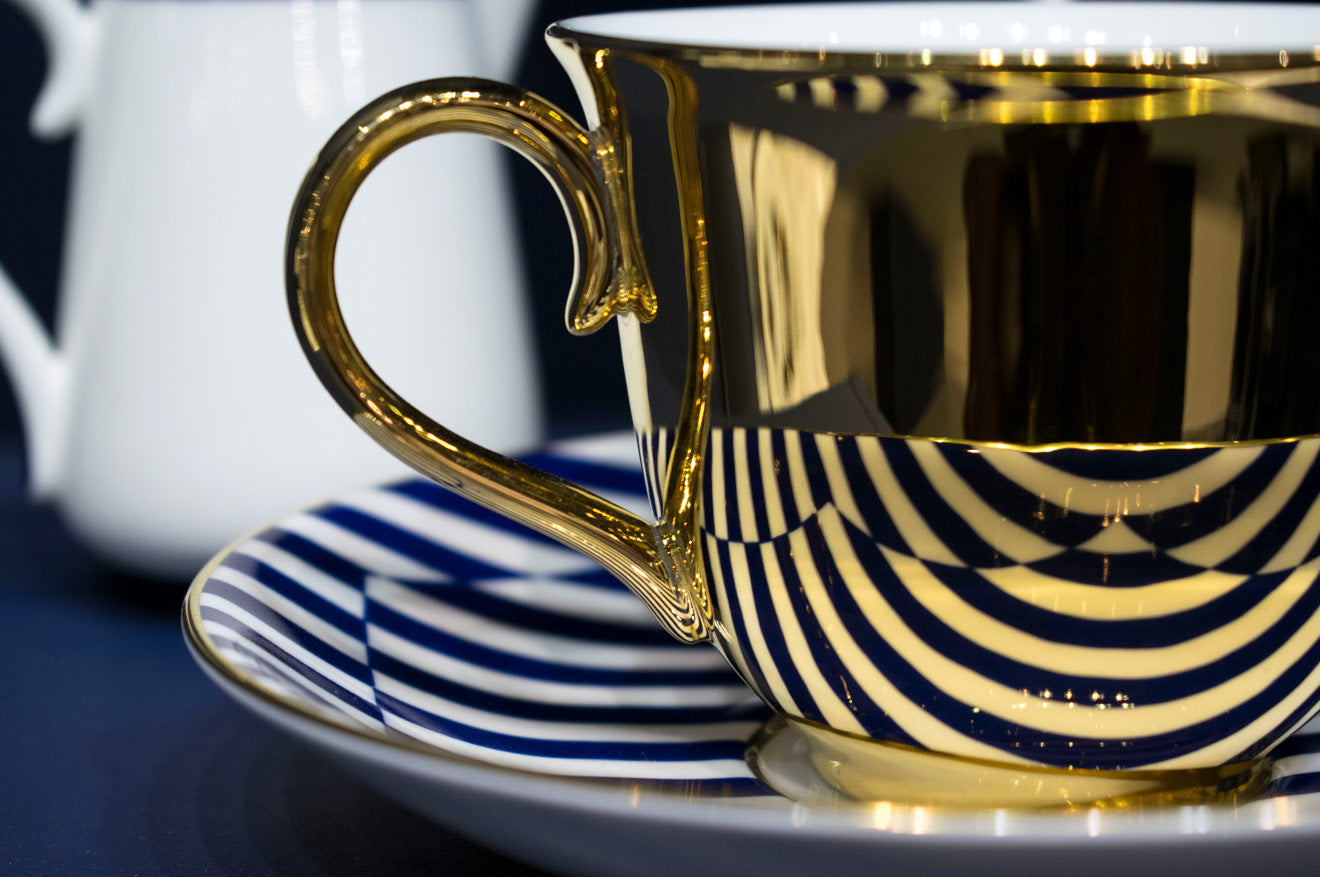 Richard Brendon gold reflect teacup with patternity saucer