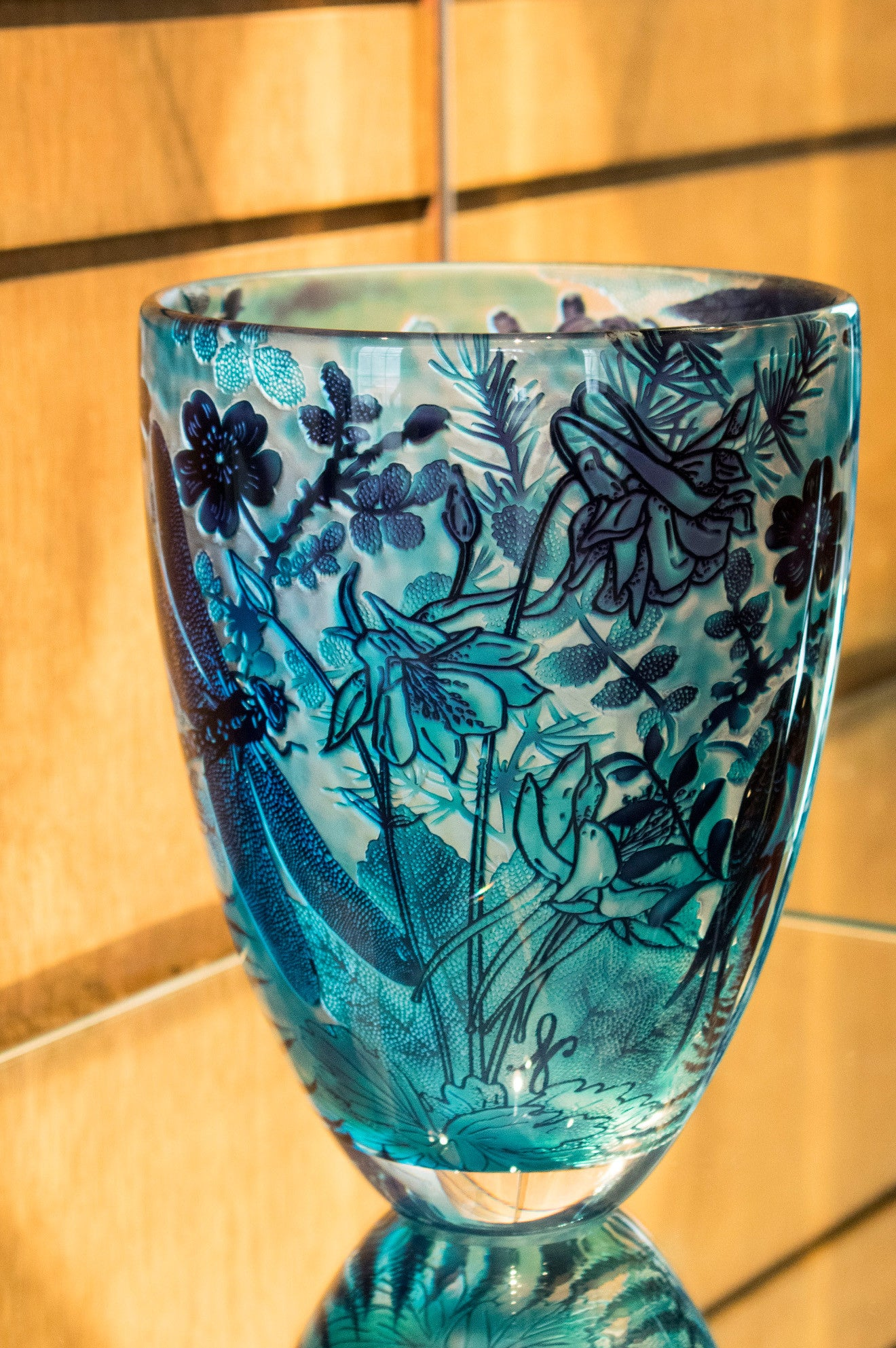 Jonathan Harris Winter etched vase