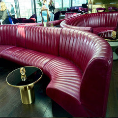 Rumpus Room bright pink leather sofa Rumpus Room Mondrian