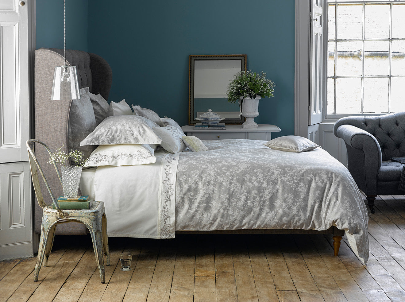 Silver rustic luxury bed linen from Christy