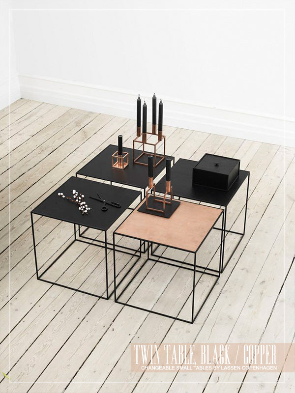 By Lassen black and copper cubed coffee tables