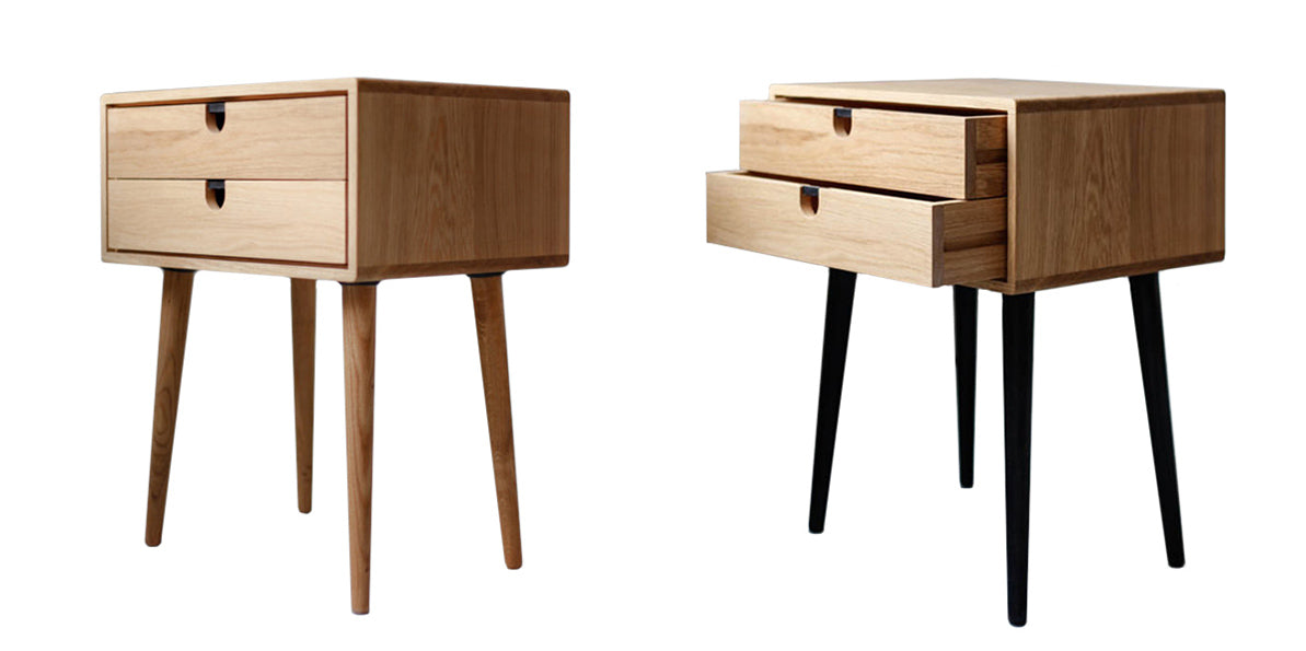 Scandinavian wooden side table with two drawers