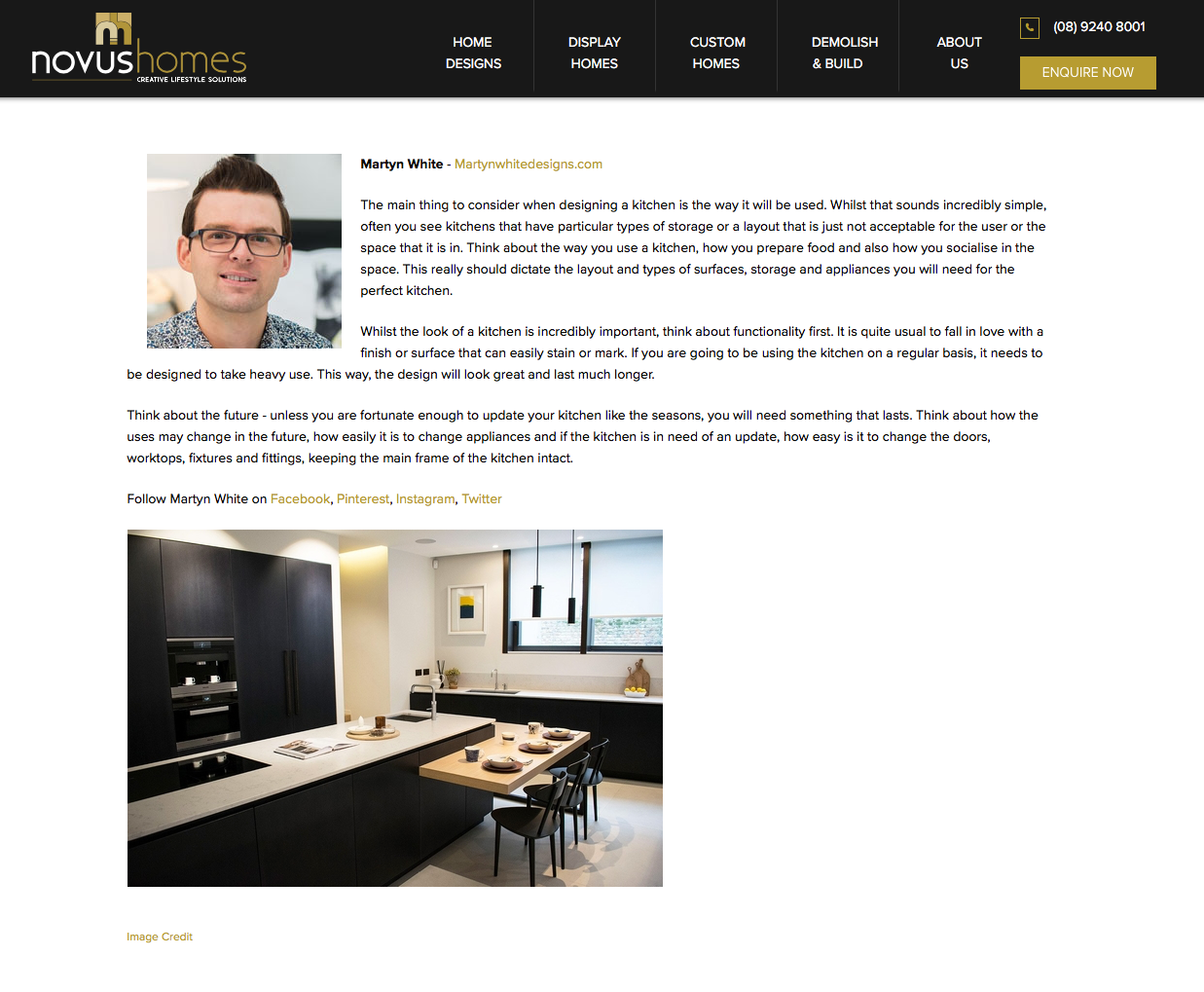 Martyn White Designs Novus Homes Kitchen Advice