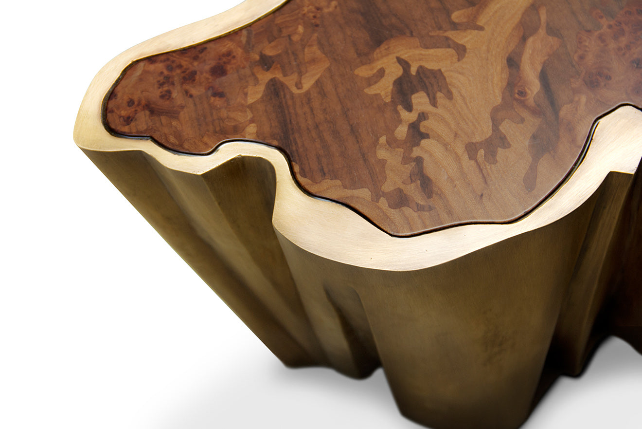 Gold island shaped coffee table with wooden finish top