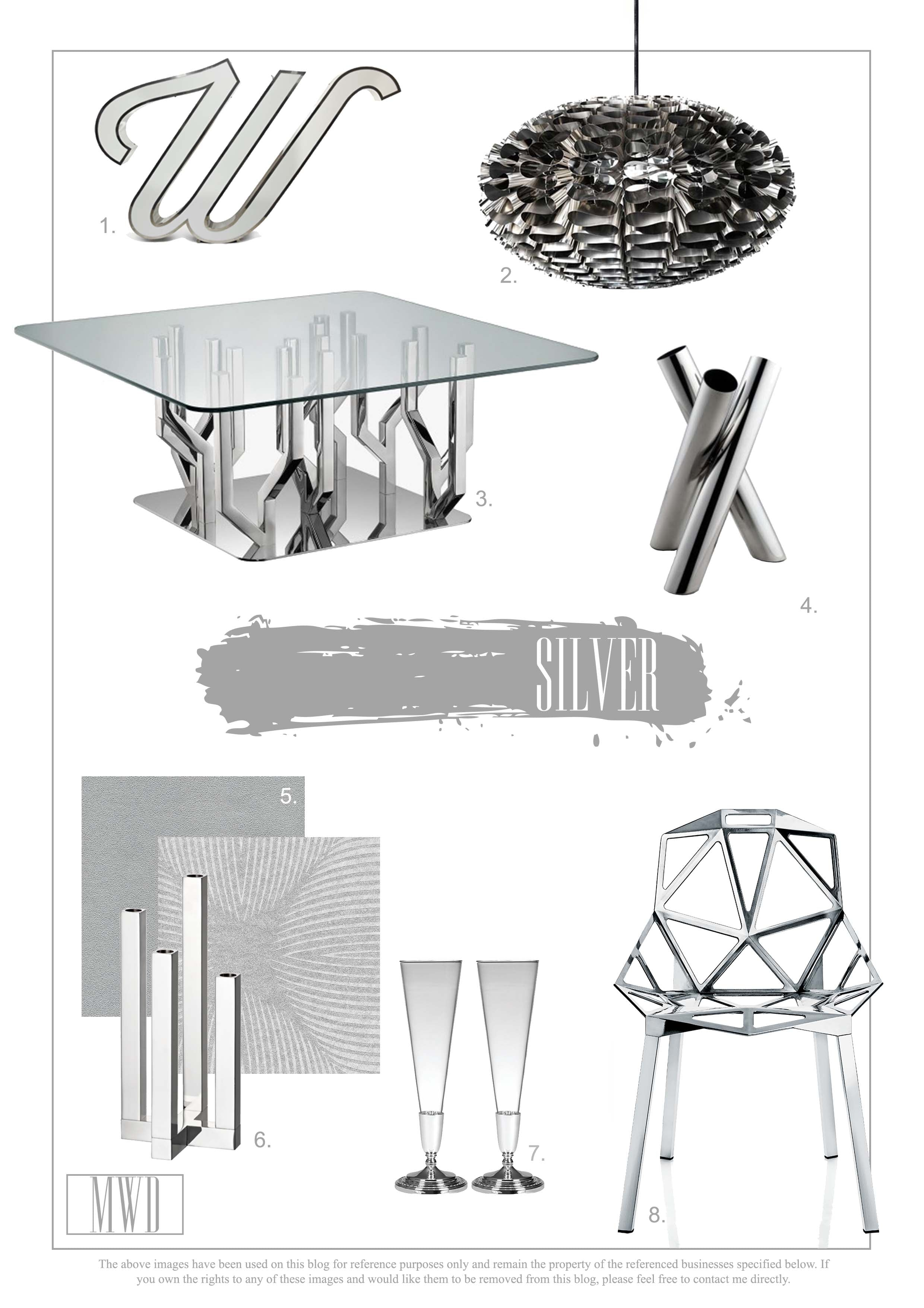 Silver furniture and home accessories. Interior Design Inspiration